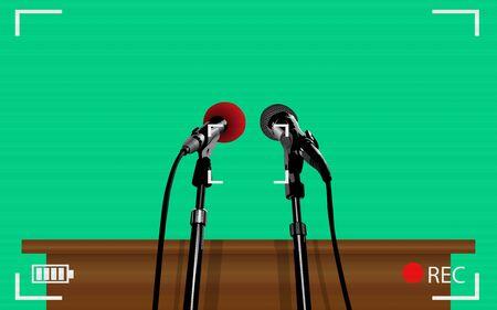 camera viewfinder of microphone on podium 向量圖像