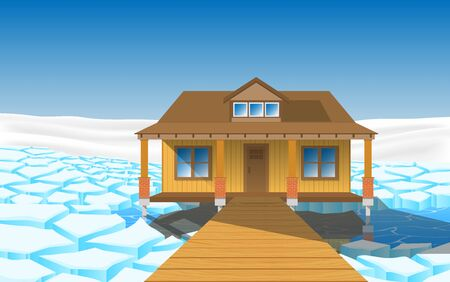 wooden house on the glacier at the geographic pole 向量圖像