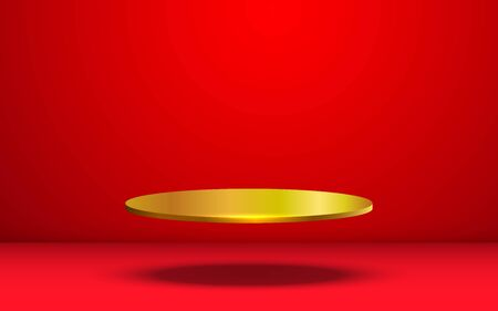 golden podium in the red room
