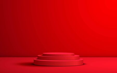 red podium in the red room
