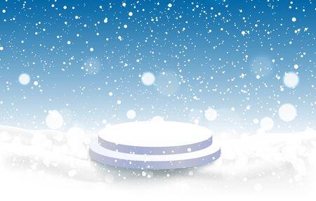 white podium with snowfall background 向量圖像