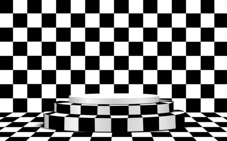 black and white podium in the black and white room 向量圖像