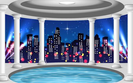 swimming pool on the high building in the city in the night