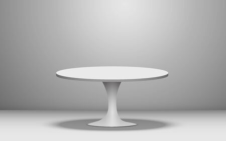 white round table in the white studio room 向量圖像