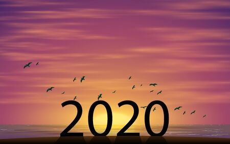 2020 number on the beach in sunset 向量圖像
