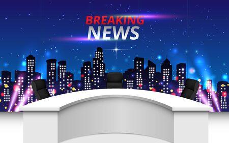 studio de nouvelles avec la ville en arrière-plan de nuit Vecteurs