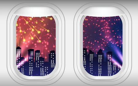 colorful fireworks on the sky at the windows of plane