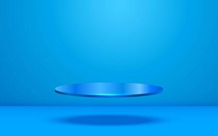 blue podium in the blue studio