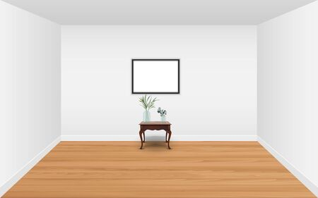 picture frame with wooden table in the white room