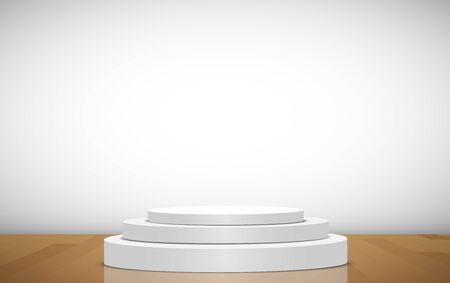 white podium on the wooden floor in the white room
