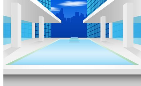 view of pool on the high building in the city Иллюстрация