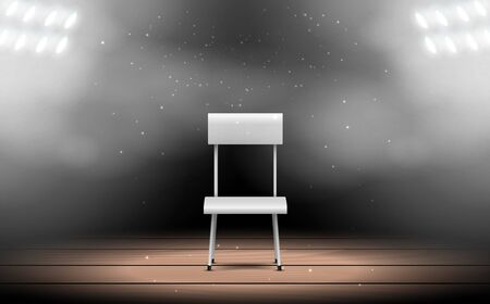 white chair with spotlight on the stage Иллюстрация
