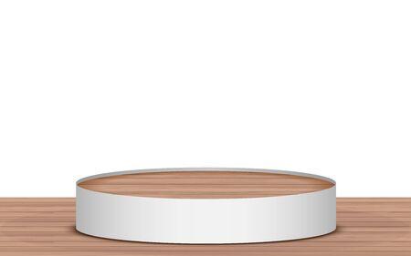 wooden podium on the wooden floor