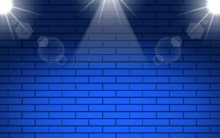 blue brick wall with white spotlight