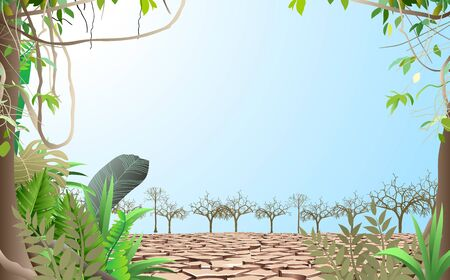 landscape of trees on the dry soil Illustration