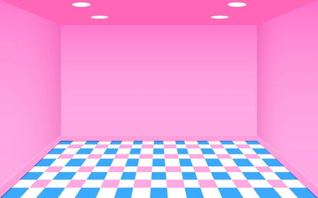 colorful floor in the pink studio room