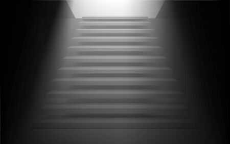 white staircase in the dark room