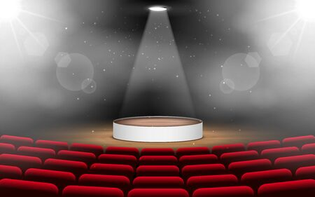 wooden podium with spotlight on the stage Иллюстрация
