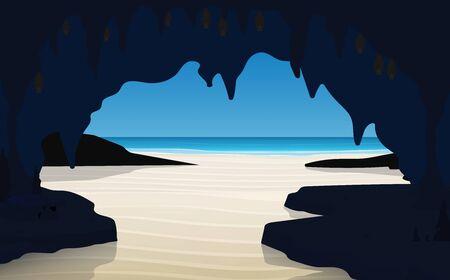 landscape of cave on the beach Illusztráció