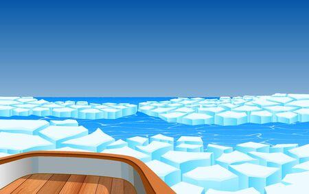 view of wooden boat on glacier Иллюстрация