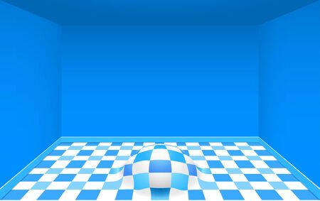 colorful tile floor in the blue room