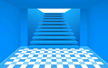 blue staircase in the pink room