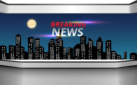 news studio with city in the night background Ilustracja
