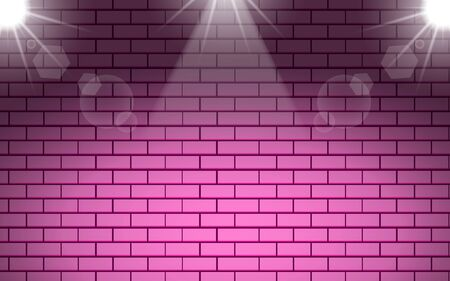 pink brick wall with white spotlight background
