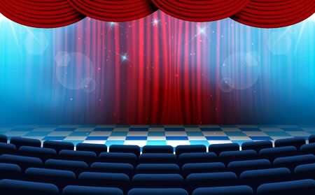 chairs with spotlight on the stage in the hall