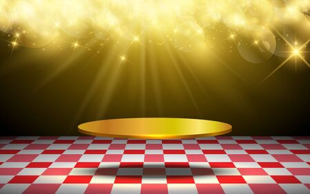 golden podium with gold light on the stage Иллюстрация