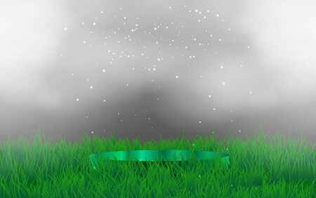 green podium with smoke in the grass Иллюстрация