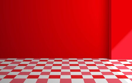colorful tile floor in the red studio room