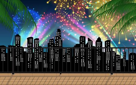 view of colorful light and firework in the city Ilustrace