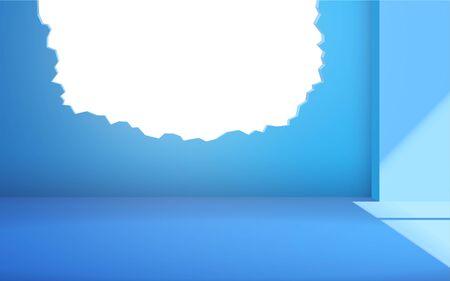 Broken wall in the blue room Иллюстрация