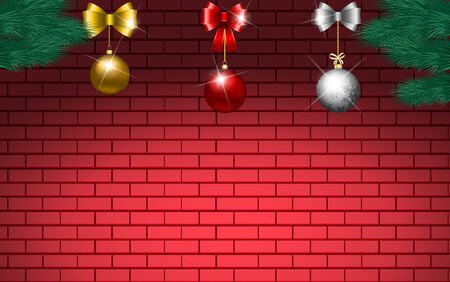 colorful christmas ball on the red brick wall Ilustrace