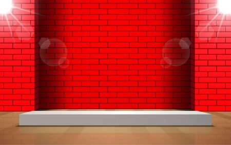 white podium on the wooden floor with red brick wall background