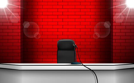 microphone on the white table with red brick wall background Иллюстрация