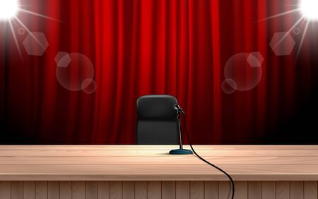 microphone on the wooden table on the stage