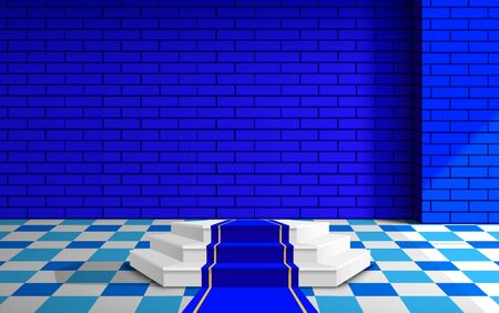white podium with blue brick wall in the studio room