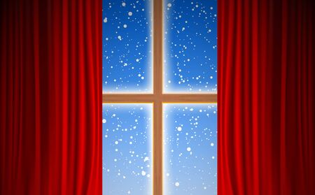 view of snowfall at the wooden windows