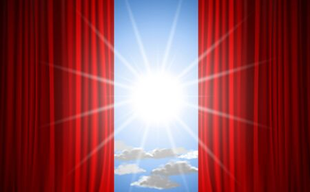 red curtain with sunlight on the sky