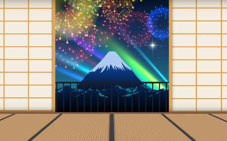 view of colorful firework on the sky at fuji mountain