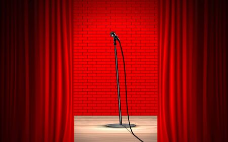 microphone and red curtain on the wooden stage