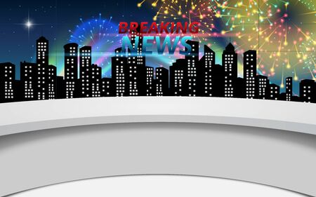 white table with firework in city background in the news studio room Ilustrace