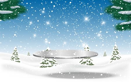 silver plate in the snow forest in winter Stock Illustratie