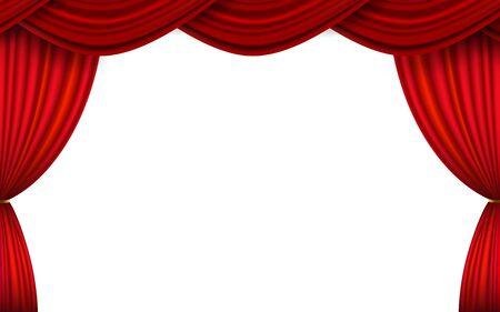 cortina roja sobre fondo blanco Ilustración de vector