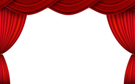red curtain on the white background Vektoros illusztráció