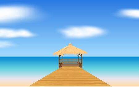 landscape of wooden gazebo at the beach