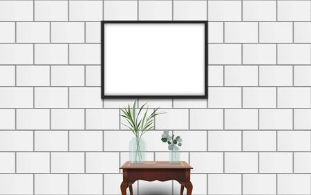 picture frame on the white wall with wooden table in the white room Ilustrace