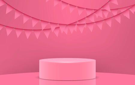 pink podium in the pink studio room